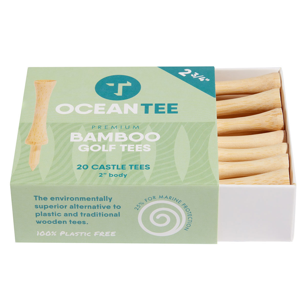 Ocean Tee 59mm Bamboo Castle Tees - 20 Pack, Male, Tees, 69mm, Beige | American Golf