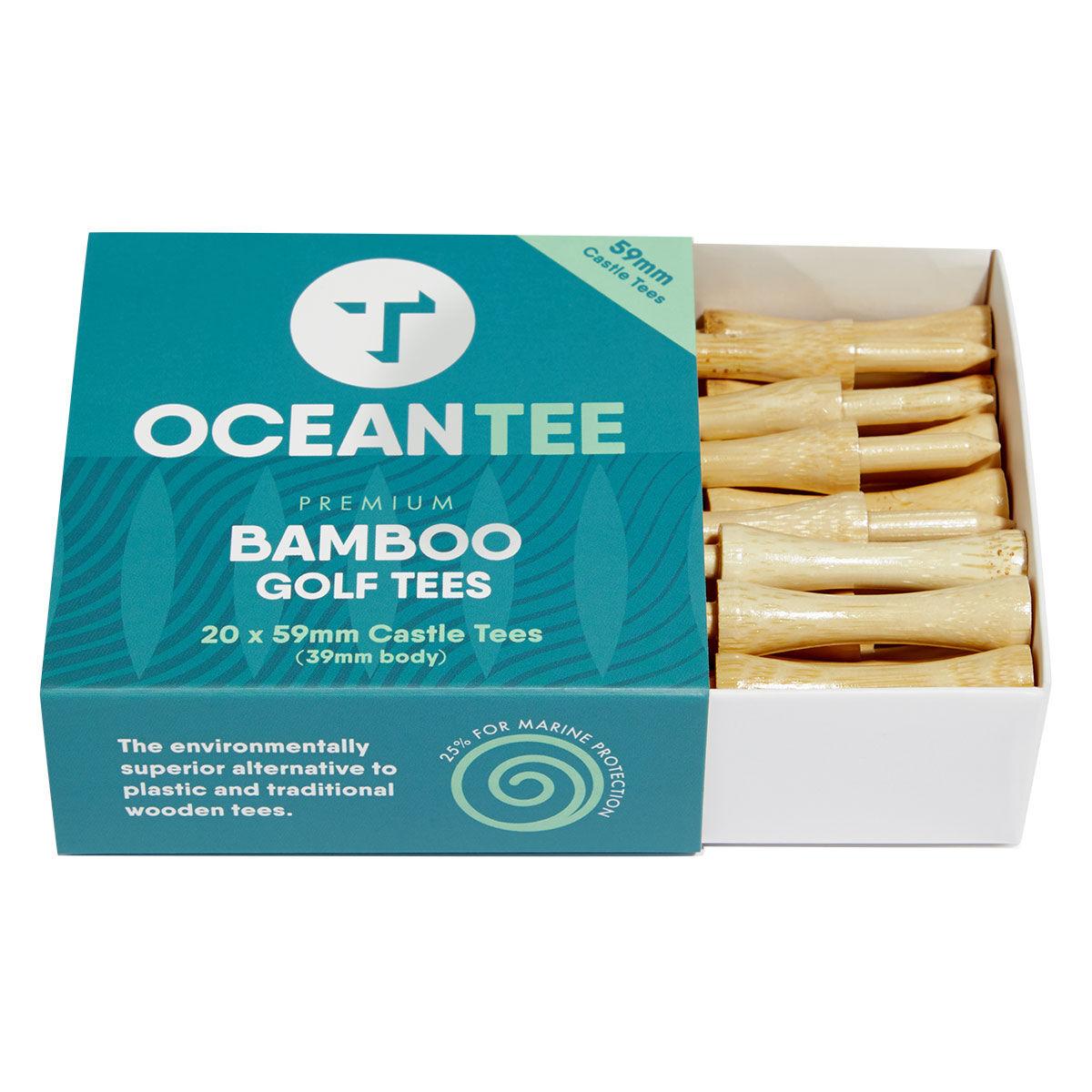 Ocean Tee Mens Brown Pack of 20 Bamboo Castle Golf Tees, Size: 59mm | American Golf