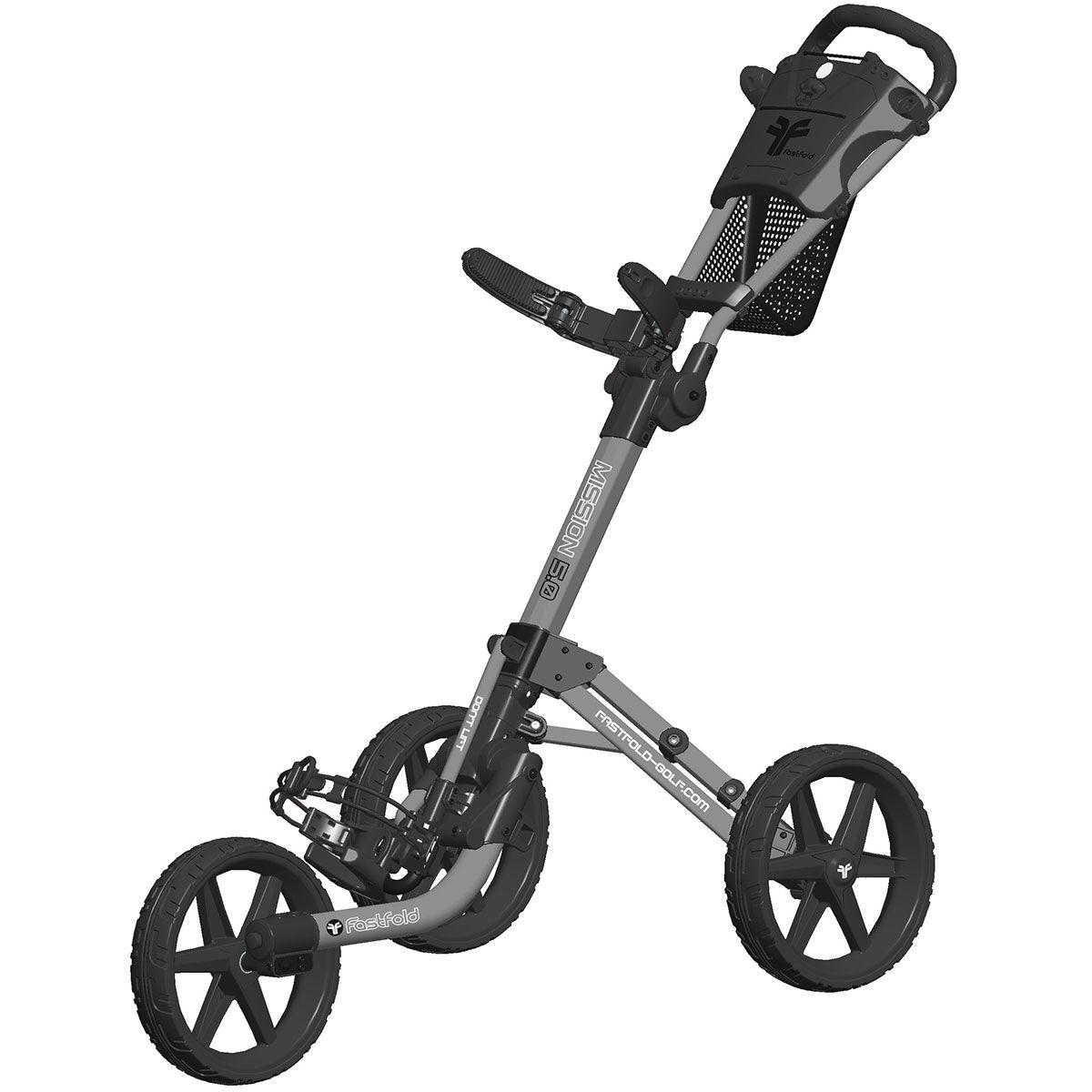 Fast Fold Fastfold Mission 5.0 3 Wheel Push Golf Trolley, Matte grey black | American Golf