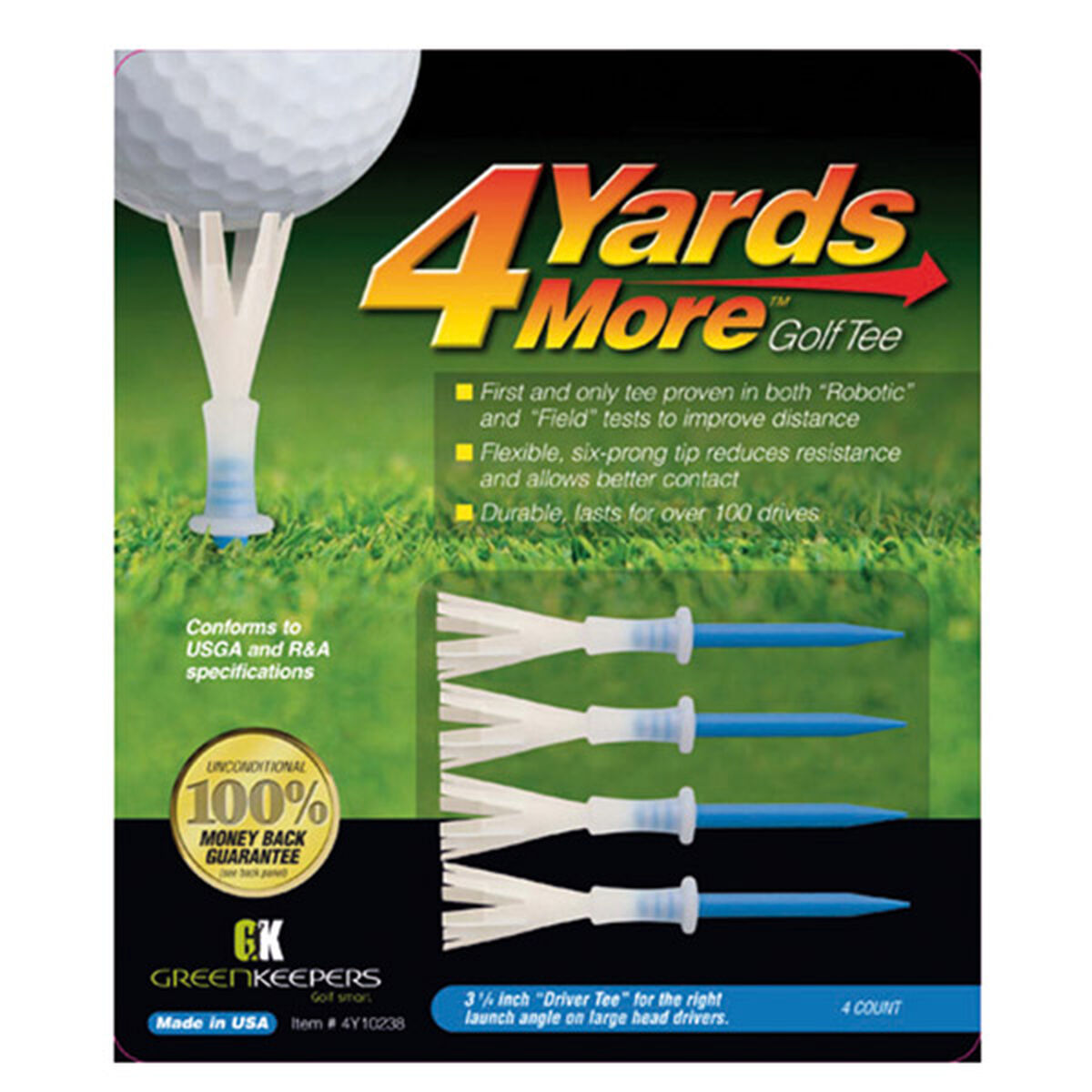 """4 Yards More Blue Pack of 4 Golf Driver Golf Tees, Size: 3 1/4"""", 3 1/4 inches 