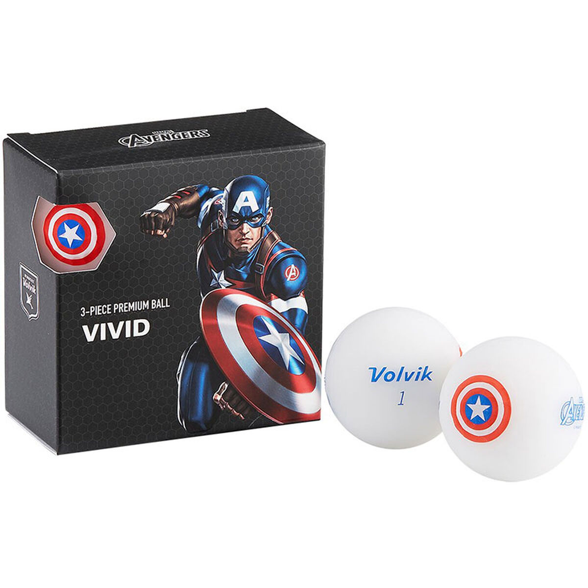 Volvik Mens Blue, White And Red Captain America Print Marvel 4 Pack of Golf Balls, One Size   American Golf