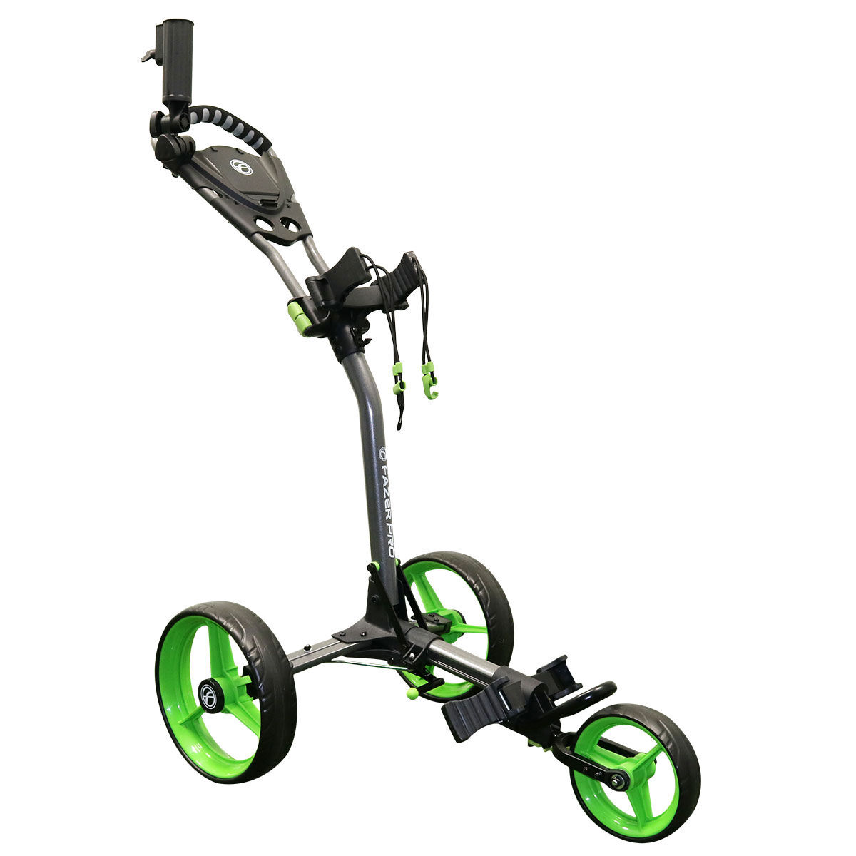 Fazer Pro Compact Push Golf Trolley, Graphite/lime, One Size | American Golf