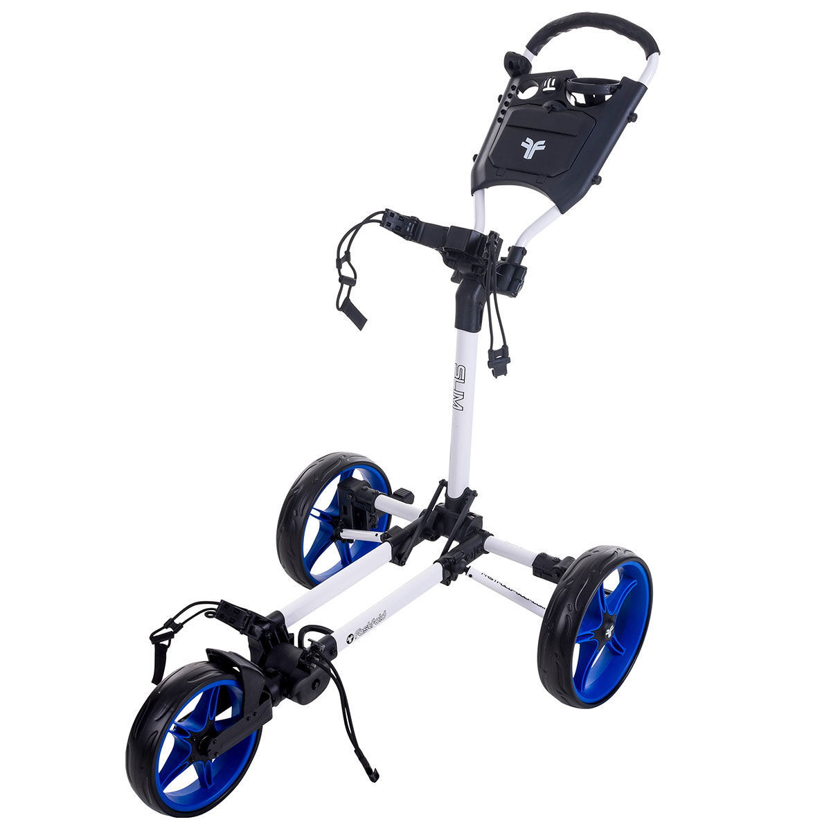 Fast Fold Slim 3-Wheel Push Golf Trolley, White/cobalt | American Golf
