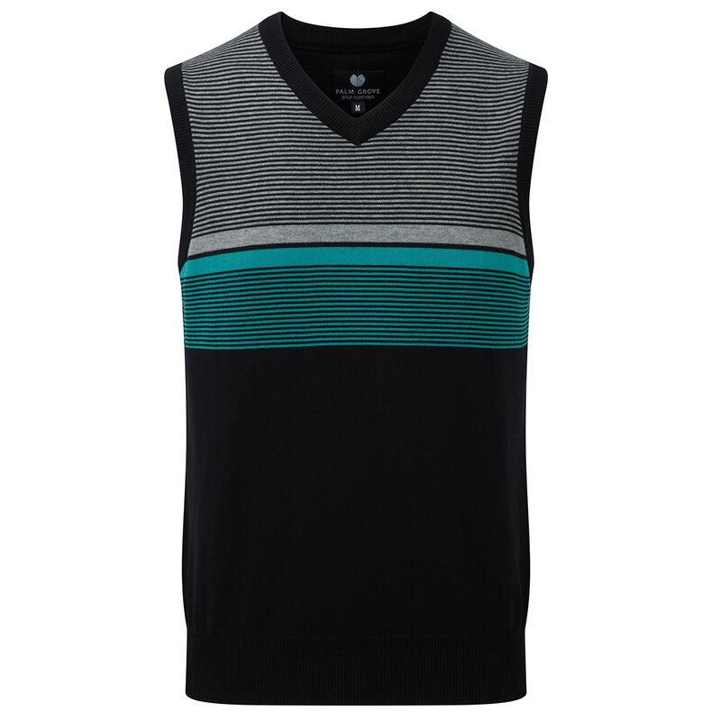 Palm Grove Knit Stripe Vest Male BlackGrey Small
