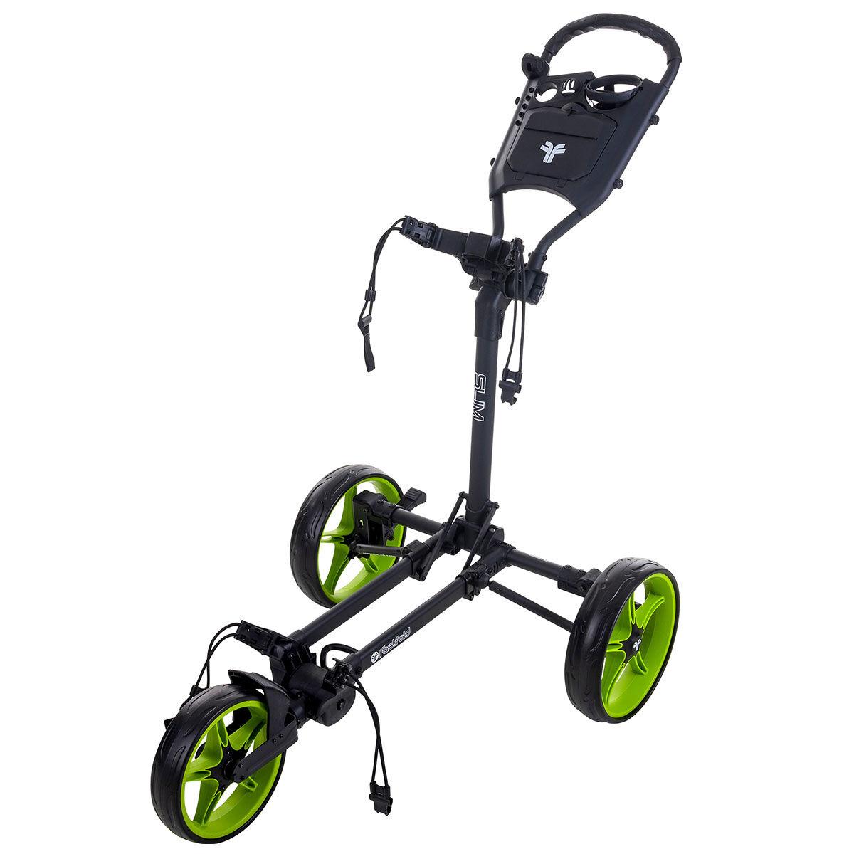 Fast Fold Slim 3-Wheel Push Golf Trolley, Charcoal/green | American Golf