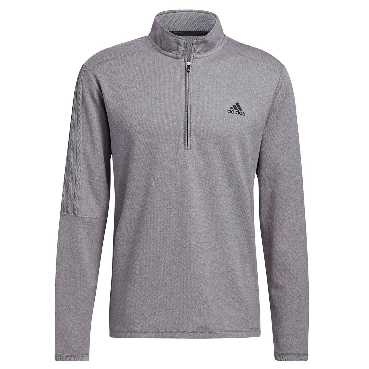 adidas Golf 3-Stripe Left Chest 1/4 Zip Midlayer, Mens, Grey, Large | American Golf