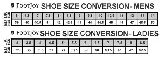 Footjoy Shoe Size Guide