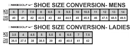 Nike Golf Shoes Size Guide