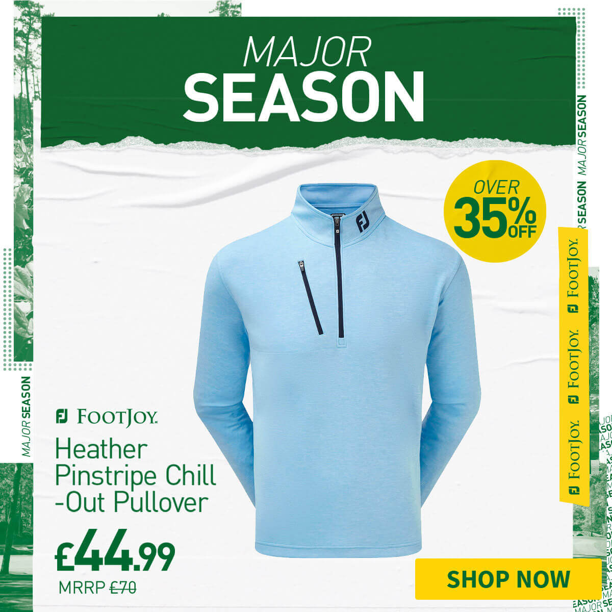 FOOTJOY HEATHER PINSTRIPE CHILL-OUT WINDTOP - OVER 35% OFF